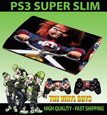 PLAYSTATION PS3 SUPER SLIM CHILDS PLAY CHUCKY HORROR SKIN STICKER & 2 PAD SKIN