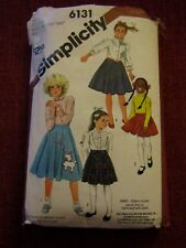 b3cb035469c4 Simplicity Pattern 6131 Girls Twirl Skirts 50s Costume Poodle Skirt 10 12 14