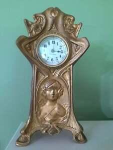 """Antique Seth Thomas Art Nouveau Clock, 10″High x 5"""" wide"""