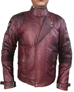 New Guardians of the Galaxy 2 Star Lord Chris Pratt Maroon Faux Leather Jacket