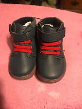 Baby Boys Shoes BLUE HIGH TOP WALKING CASUAL BOOTS Red Laces EASY FASTEN Size 4
