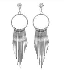Tassels Earrings Cubic Zirconia Crystal Silver Toned Tassel Dangle Earrings