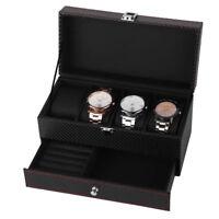 New 4 Slot Leather Watch Box Display Case Organizer Glass Top Jewelry Storage