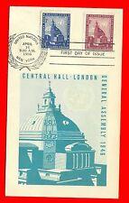 UN Central Hall, London Postcard FDI Scott 61,62 New York Wreath Cancel
