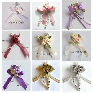 Trio Satin Ribbon Posy, Bows Cluster With Pearls Beads 4/10/20
