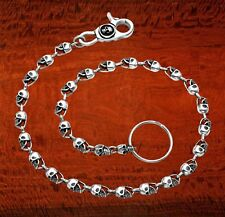 """Oxidized Sterling Silver Skull Link Wallet Chain 21"""" w/Skull Clasp - WC5"""