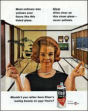 1963 woman looking glass Johnson's Klear floor wax retro photo print Ad adL95