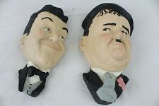 Vintage Plaster Laurel And Hardy Bust Wall Mount Heads Rare Collectable Figure