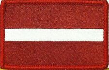 LATVIA Flag Patch With VELCRO® Brand Fastener Military Red Emblem #7