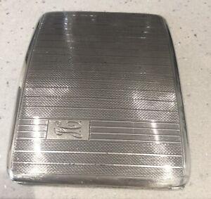 Antique Art Deco Curved Sterling Silver Cigarette Case. S M Levi Ltd. Bham 1934.