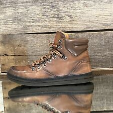 $890 Mens Gucci GG Brown/Red Leather Trekking/Hiking Boot FW16 [368496] sz 7.5G