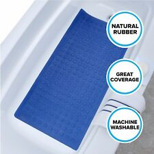 Extra Long Rubber Bath Safety Mat: Blue SlipX Solutions In-Tub Suction Cup Mat