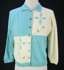 Vintage 50s Intarsia Turquoise Cardigan M/L Pinwheel Flower Ivory Checker Pinup