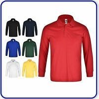 "New Good Quality Long Sleeve School PE Polo Shirt Boys Girls Size 22"" - 34"" 0830"
