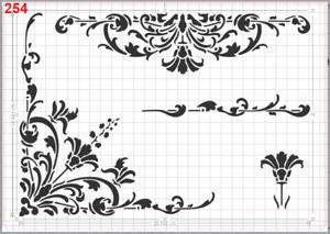 Flowers Pattern motif Stencil MYLAR A4 sheet strong reusable Art Craft Wall deco