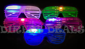 50 Light Up LED Shutter Glasses Glow Halloween Rave Costume Sun Glass Rockstar