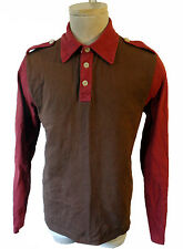 Paul Frank Brown red color block sleeve collar rugby retro vintage dork geek mod