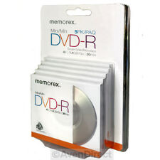 5 Memorex 4X Camcorder 1.4GB 30mins Mini DVD-R Case Single Sided [FREE SHIPPING]
