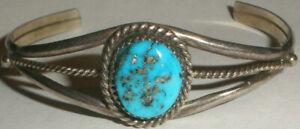 Vintage Navajo RB Richard Begay sterling silver turquoise bracelet