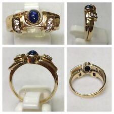585x Zaffiro Anello Oro con Brillanti Gioielli Oro Brillantenring Anello