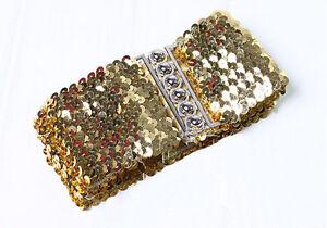 Glittery Metal Buckle Sequin Elastic Stretch Waist Belt XS S (Black/Silver/Gold)