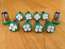 10 Green GMC *BRIGHT* 12V LED Instrument Panel BA9S 1815 Light Bulb 1895 NOS