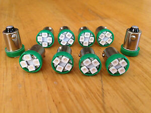 10 Green GMC *BRIGHT* 12V LED Instrument Panel BA9S 1815 Light Bulb 1895 NOS