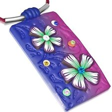Fashion Fimo Polymer Clay Flower Tag Charm Necklace with CZ & Gem Stones FPA203
