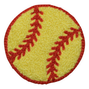 """Chenille Softball Patch - Sports Ball, Letterman Jacket Badge 2-3/8"""" (Iron on)"""