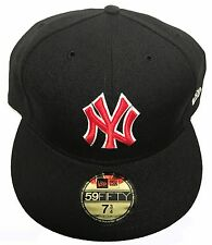 NEW YORK YANKEES NY MLB BLACK RED NEWERA FITTED 59FIFY HAT CAP NEW ERA