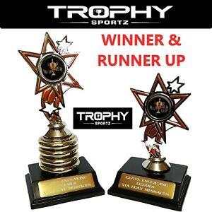 DUO - x 1 WINNER 180mm & x 1 RUNNER UP 140mm Trophy Sport award FREE ENGRAVING