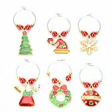 6 Pack Chirstmas Wine Glass Charms Rings Wine Glass Markers for Xmas Party U7Y8