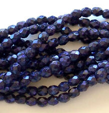 Purple Fire Polished Czech Glass Beads * Beveled Faceted * Eggplant Van Gogh