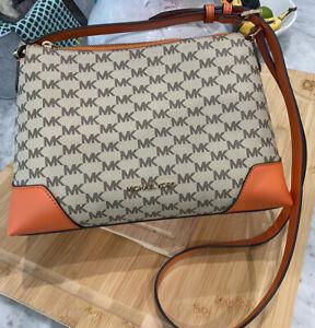 Michael Kors Crosby Heritage Logo Medium Messenger Shoulder Bag Tangerine Multi
