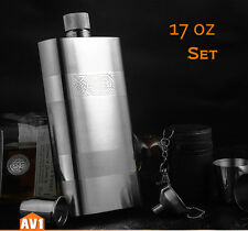 Quality Brand stainless 304 hip flask, 17 oz large size with cups. gift set.