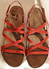 "BNWOB, SIZE 11M, RED PATENT LEATHER DANSKO ""JOVIE"" STRAPPY SANDALS, FLAT"