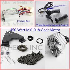 450W 24V electric bicycle brush Motor Conversion Kit w Control & Keyed Throttle