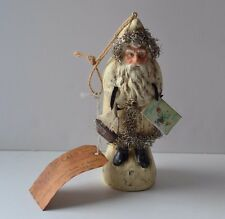 "VINTAGE LOOK 6"" WHITE BELSNICKEL SANTA w TOYS CHRISTMAS ORNAMENT Ragon House NWT"