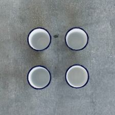 Falcon enamel tumbler, 300ml, blue rim, set of four