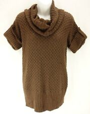 EIGHT EIGHT EIGHT Brown Knit Short Sleeve Cowl Neck Cotton Sweater Womens Size S