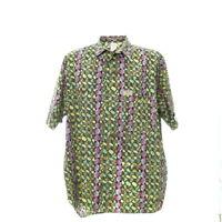 Herren Kurzarmhemd Größe XL Vintage Shirt Retro Print Baumwolle