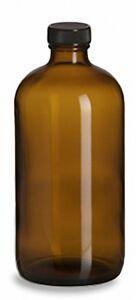 16 oz (480 ml) Boston Round Amber Glass Bottles w/Caps (Lot of 6)