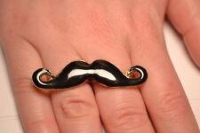 Black Enamel Double Finger Moustash Ring Adjustable. FREE P&P