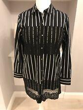River Island Black & White Stripe Longline Lace Trim Shirt Size 12 NWOT