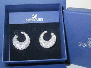 "GENUINE Swan Signed SWAROVSKI ""Stone"" Circle Earrings -  #5017145"