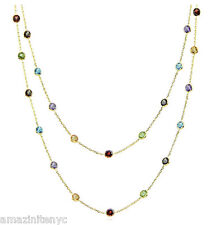18K Yellow Gold Necklace With Round Multi-Color Gemstones By The Yard 36 Inches