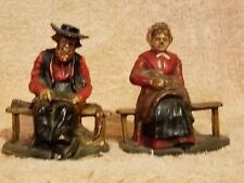 Vintage Hubley Cast Iron Amish Couple Bookends Great Condition