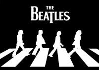 The Beatles Abbey Road Giant Poster Art Print Black & White Card / Canvas