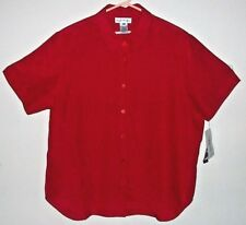 NWT Ladies Plus 16W Silky Polyester Blouse Top Red Short Sleeves $38