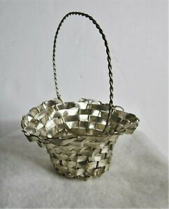 Antique Early 1900's German Woven Metal Feather Tree Candy Basket